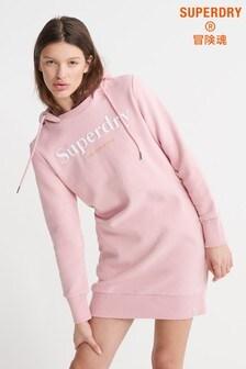 Superdry Pink Harper Hooded Logo Sweat Dress