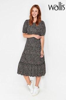 Wallis Petite Natural Black Printed Midi Dress