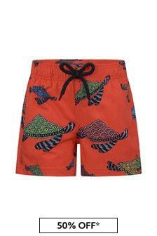 Vilebrequin Boys Red Turtles Swim Shorts