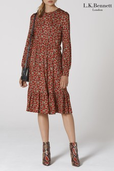 L.K.Bennett Red Carina Cherry Blossom Print Dress