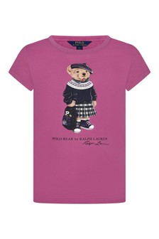 Girls Pink Cotton Jersey Bear T-Shirt