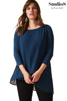 Studio 8 Blue Minka Layered Top