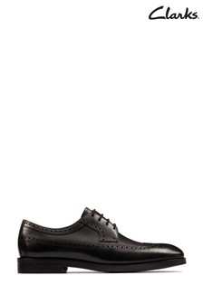 Clarks Black Leather Oliver Wing Shoes