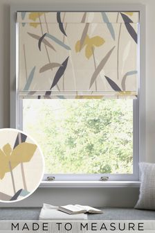 Modern Floral Natural Made To Measure Roman Blind