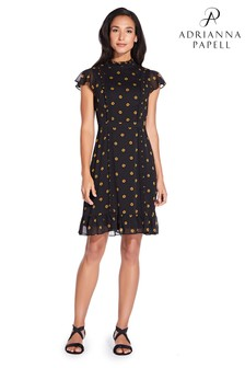 Adrianna Papell Black Daisy Dot Ruffled A-Line Dress