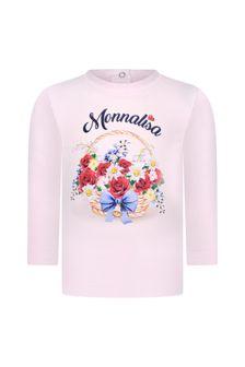 Baby Girls Pink Cotton Long Sleeve Flower Basket T-Shirt