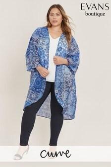 Evans Curve Blue Tile Print Kimono