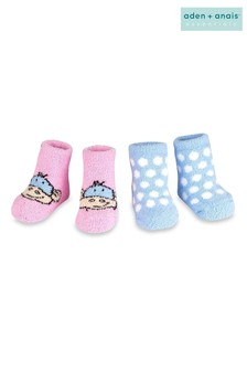 aden + anais Pink Monkey Spot Cozy Booties Two Pack Gift Set
