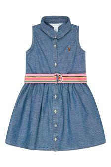 Ralph Lauren Kids Baby Girls Blue Cotton Dress