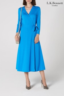 L.K.Bennett Blue Juno Wrap Dress