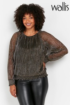 Wallis Petite Bronze Shine Puff Sleeve Top