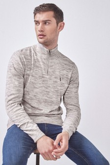 Marl Zip Neck Crew Top