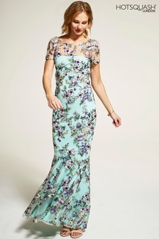HotSquash Mint Embroidered Cowl Back Maxi Dress