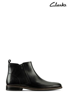 Clarks Black Leather Stanford Zip Boots