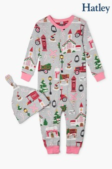 Hatley Christmas Village Baby Coverall & Hat