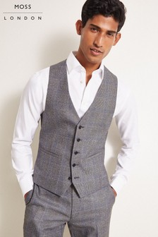 Moss London Slim Fit ECO Grey Check Waistcoat