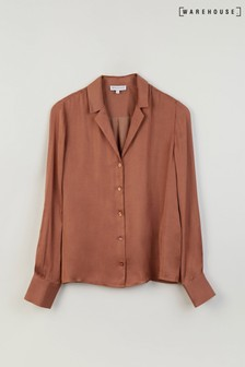 Warehouse Tan Satin Lapel Shirt