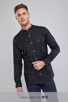 Slim Fit Stretch Oxford Grandad Collar Shirt
