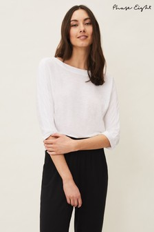 Phase Eight White Belle Round Neck Top