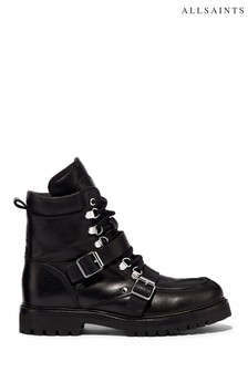 AllSaints Black Noa High Top Lace-Up Calf Boots