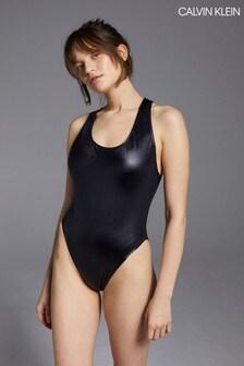 Calvin Klein Black Core Essentials Scoop Back One Piece Swimsuit