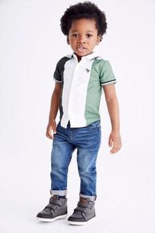 Short Sleeve Shirt With Jersey Collar (3mths-7yrs)