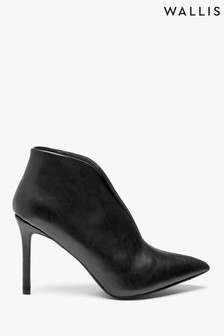 Wallis Black Pumpkin Black V Throat Stiletto Shoe Boots