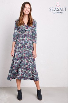 Seasalt Petite Blue Chacewater Painterly Squall Dress