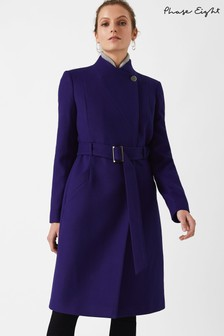 Phase Eight Purple Susie Stand Up Collar Coat
