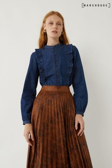 Warehouse Blue Denim Ruffle Detail Shirt