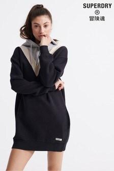 Superdry Black Chevron Sweat Dress