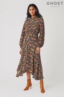 Ghost London Black Anais Poppy Print Crepe Dress