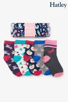 Hatley Blue Girls Crew Socks Five Pack Gift Tin