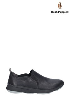 Hush Puppies Black Glove BounceMAX Slip-On Trainers