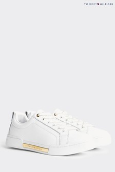 Tommy Hilfiger White Metallic Plaque Cupsole Trainers