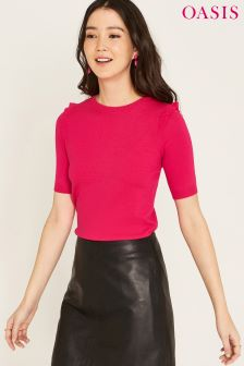 Oasis Pink Frill Shoulder Knit Jumper