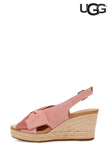 UGG® Pink Ysidra Bow Wedge Sandals