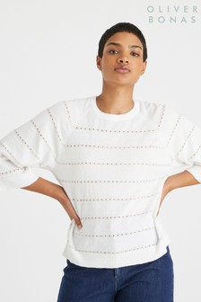 Oliver Bonas Pointelle Stripe White Knitted Jumper