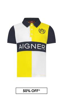 Aigner Boys Yellow Cotton Poloshirt