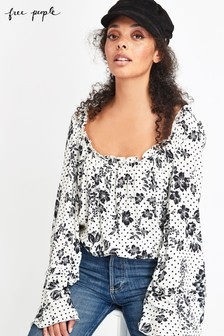 Free People White Floral Bodysuit