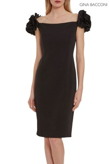 Gina Bacconi Black Bretta Stretch Crepe Dress