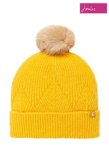 Joules Yellow Thurley Knitted Hat