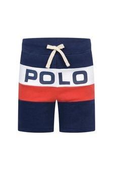 Boys Navy Cotton Polo Shorts