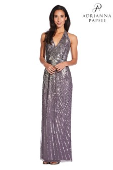 Adrianna Papell Grey Beaded Halter Gown