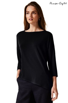 Phase Eight Black Lucetta Asymmetric Longline Top