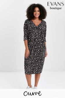 Evans Curve Blush Polka Dot Shift Dress