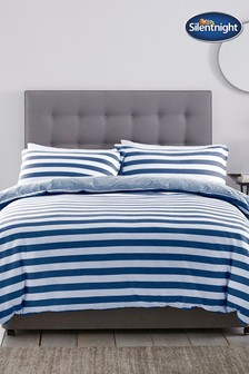 Jersey Stripe Duvet Cover and Pillowcase Set by Silentnight