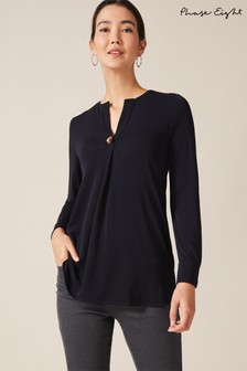 Phase Eight Blue Marsha Button Front Pleat Tunic Top