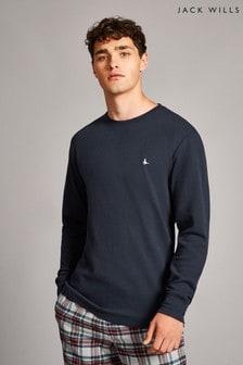 Jack Wills Navy Ashcroft Textured Long Sleeve T-Shirt