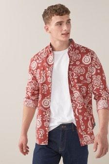 Printed Roll Sleeve Shirt